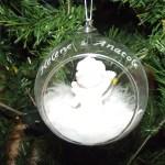 boule en verre ange gravure 2 prenoms