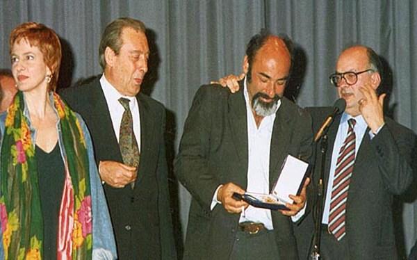 1995 – Giuliana de Sio, il Presidente del Festival Marino Borgogni, Alessandro Haber e il Direttore Artistico dell' epoca Paolo Micalizzi