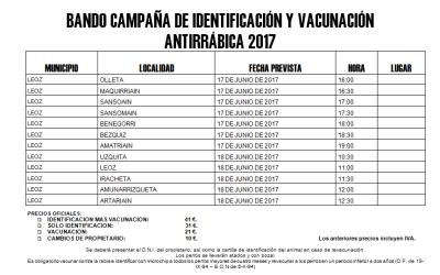 Bando campaña de identificación y vacunación antirrábica