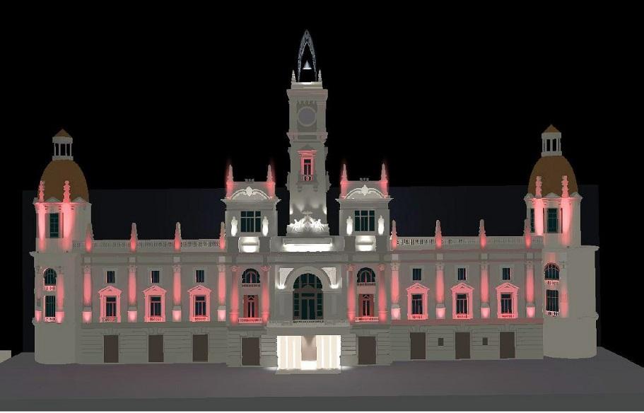 El Ayuntamiento de Valencia renueva la iluminación de la fachada de la casa consistorial