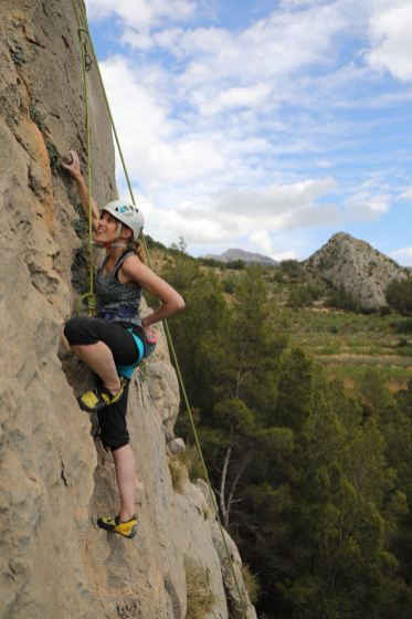 Elise climbing with us in Sella (2018)