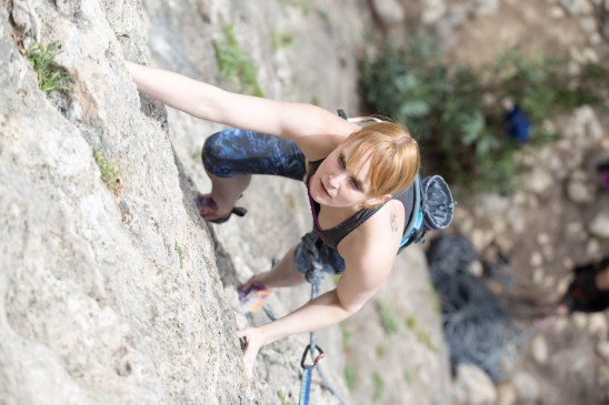 Gemma climbing with us in Montanejos (2017).