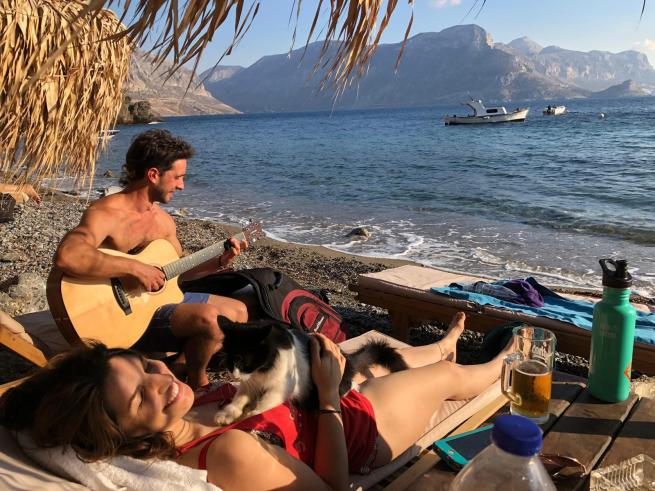 Beach scouting on a rest day in Kalymnos.
