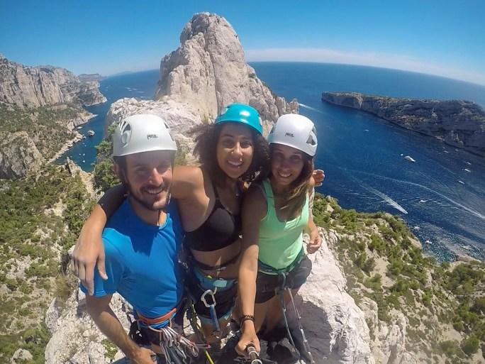 Climbing Arrêt de Vallon (IV+, 120m) with Jess and Sab.