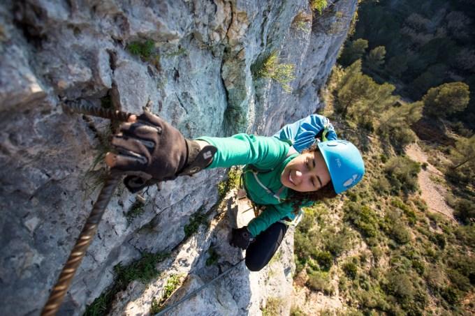 Sabrina climbing via ferrata Aventador (90m, K3).