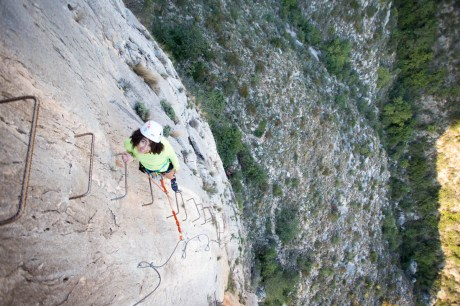 Sabrina climbing via ferrata Les Marujes (120m, K3).