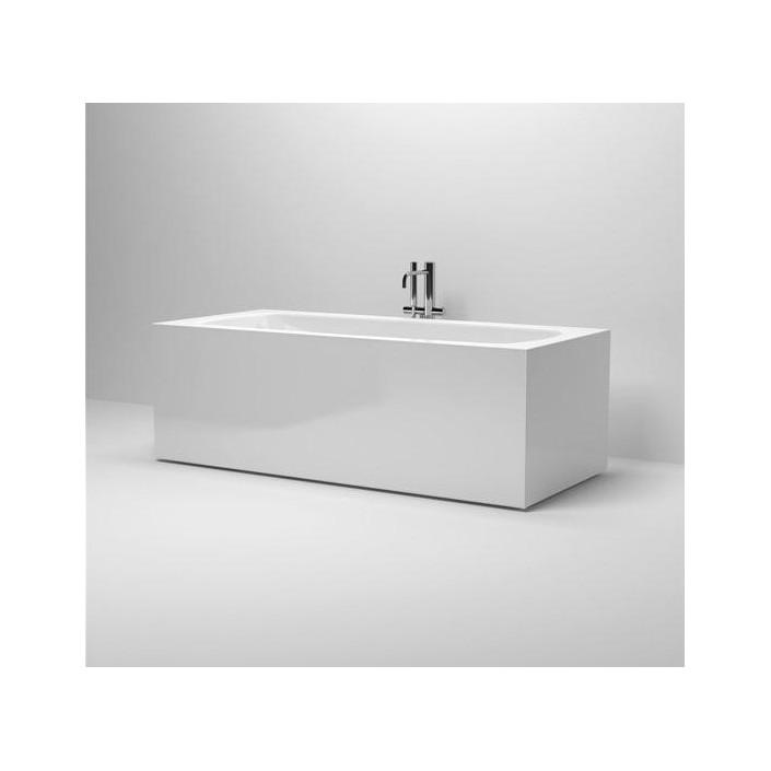 baignoire ilot rectangulaire en acrylique blanc a bord fin inbe pour la marque clou