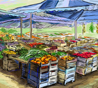 Fruits and vegetables street stall. Illustration