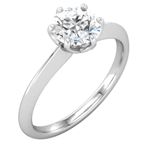 Valeria Custom Jewelry | Knife Edge, 6 prong Solitaire Engagement Ring