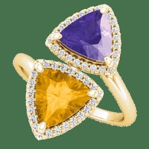 2 stone Iris Flower Ring