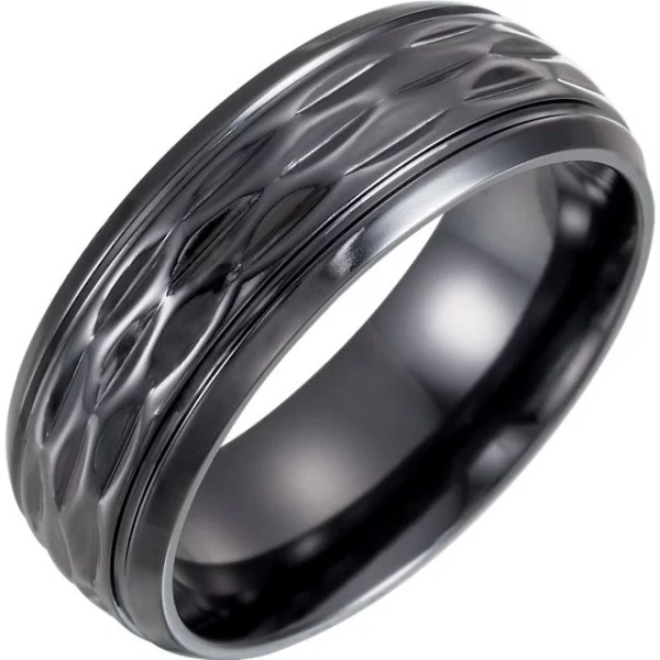 Patterned Black Titanium Wedding Ring