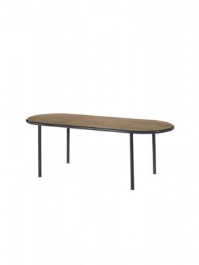 wooden table oval black walnut
