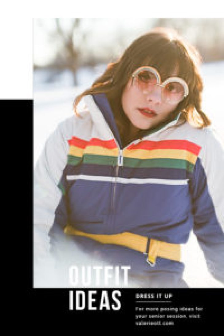 senior girl poses in retro snowsuit, text reads: outfit ideas, dress it up, for more posing ideas for your senior session, visit valerieott.com