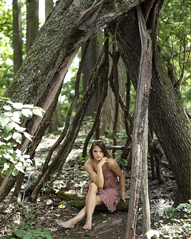 Mattawan senior girl poses in the forest of West Michigan among wearing a pink dress and barefoot.