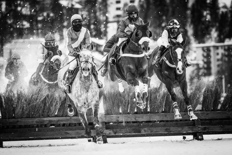 "Fine art photography prints ""Horse race White Turf St. Moritz Switzerland"""