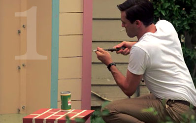 An image of Don assembling a playhouse in Mad Men