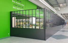 Agencement espace BIO – conception et fabrication VALIN – présentoirs sur-mesure