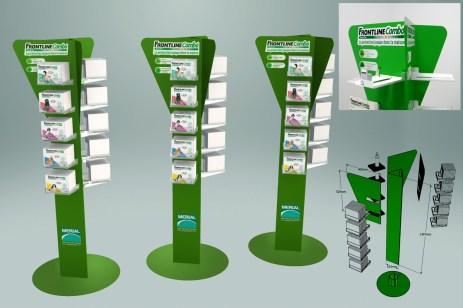 Presentoir distributeur de boites de produits veterinaires - Conception et fabrication VALIN