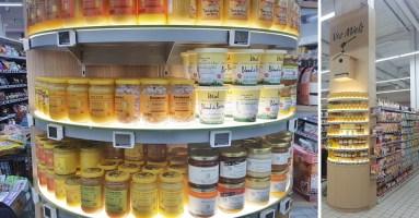 Presentoir habillage de poteau pour la vente de miels - Conception et fabrication VALIN