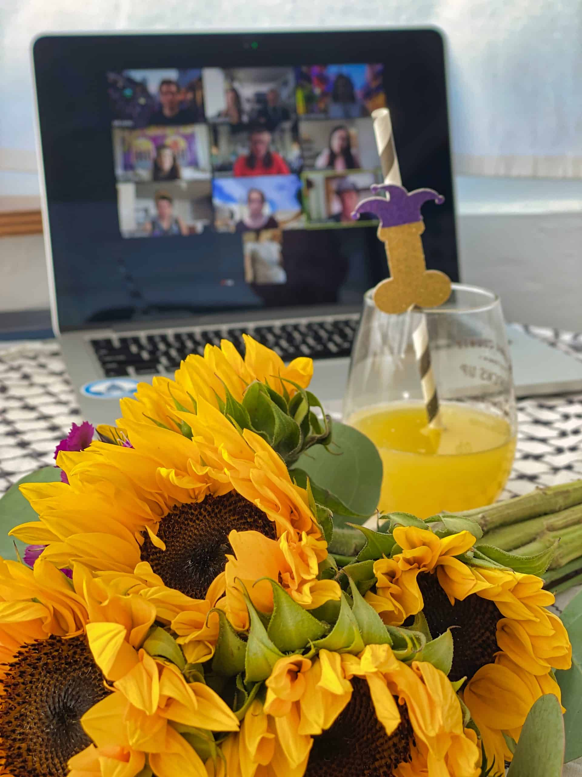 Fresh flowers and Bachelorette swag at my Virtual Destination Bachelorette Party