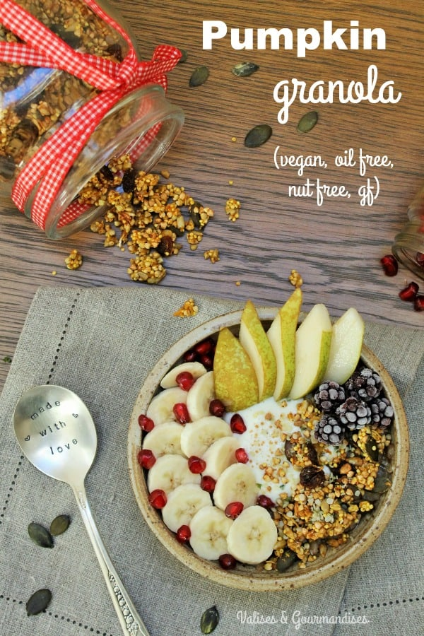 Healthy pumpkin granola, oil free, nut free and gluten free - Valises & Gourmandises