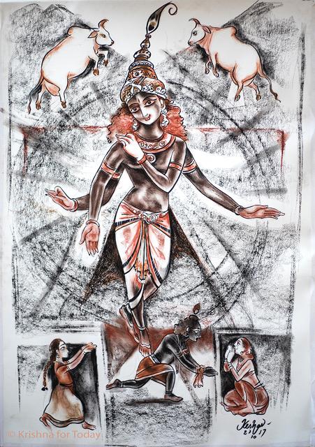 171021 - Muddu Krishna -charcoal and Conte -lr Live sketch during a classical music concert on Krishna Bala Leela. Sriram Parashuram, Nisha Rajagopal and Gayatri kamakoti RR Sabha Mylapore