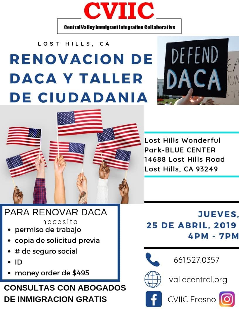 Taller de Ciudadanía y Renovación de DACA Lost Hills 25 Abril 2019 CVIIC