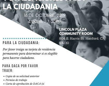 Taller de Ciudadanía y Renovación de DACA en Hanford 16 Octubre 2019