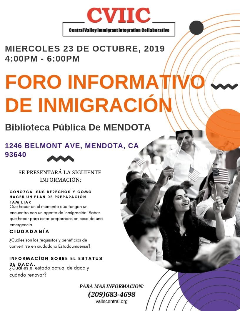 Foro Informativo de Inmigración en Mendota 23 de Octubre 2019 CVIIC