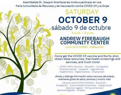 Feria de Recursos Comunitarios en Firebaugh 9 Octubre