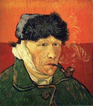 Autorretrato, por Van Gogh. Sin oreja.