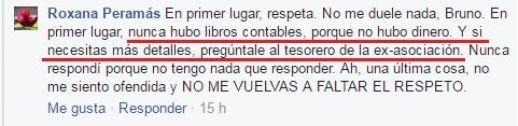Nótese que Roxana Peramás sugiere pedir cuentas al tesorero, Javier Llaxacóndor (Fuente: Facebook de Bruno Pólack)