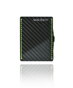 Vallett Carbon Fiber Smaller Wallet - Neon Green Stitching