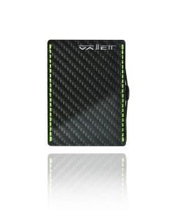 Vallett Carbon Fiber Smaller Wallet - Neon Green Stitching