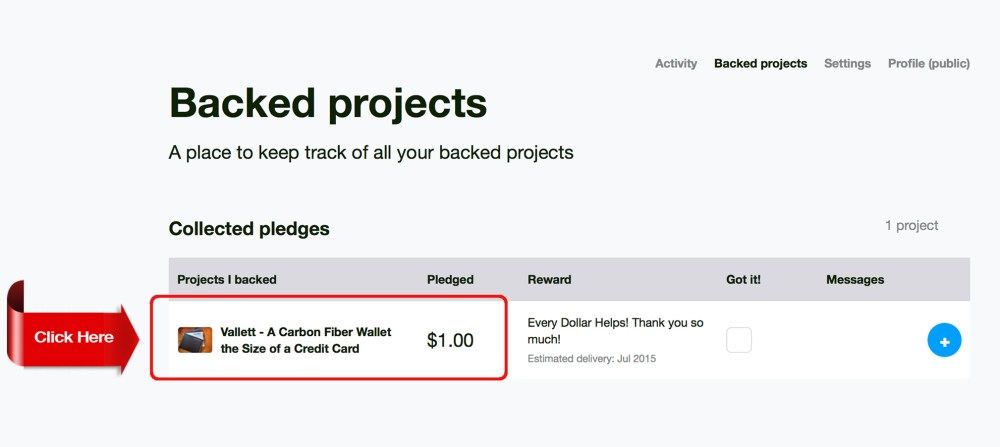 Backed Projects