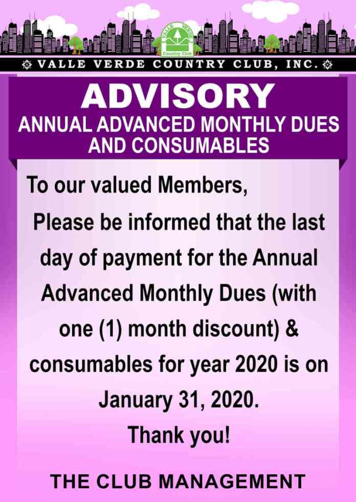 Advance Annual Monthly Dues and Consumables 1