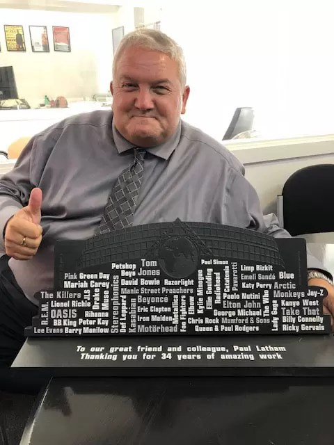 Motorpoint Arena bespoke Welsh slate plaque