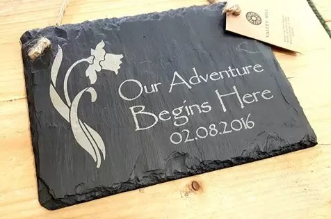 Personalised Welsh Slate Hanging Sign