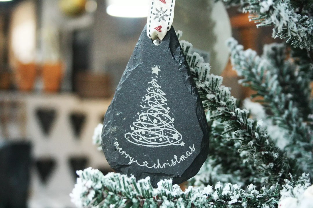 Merry Christmas Welsh Slate Tree Decoration