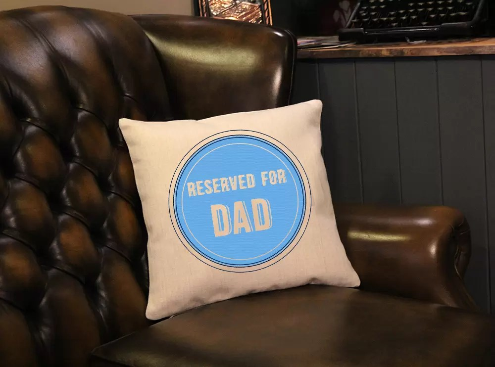 Reserved for Dad linen effect Father's day cushion gift