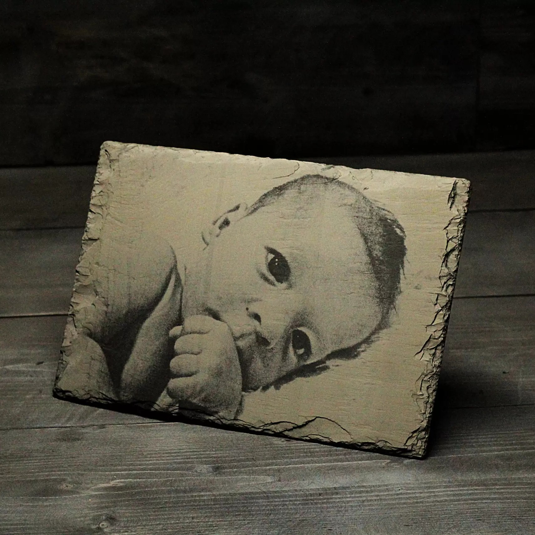 Welsh slate baby photograph engraving Father's day gift