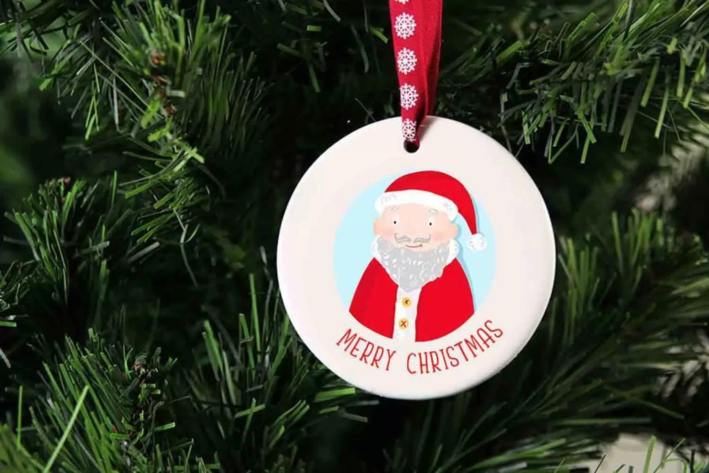 Santa Merry Christmas Ceramic Christmas Tree Decoration