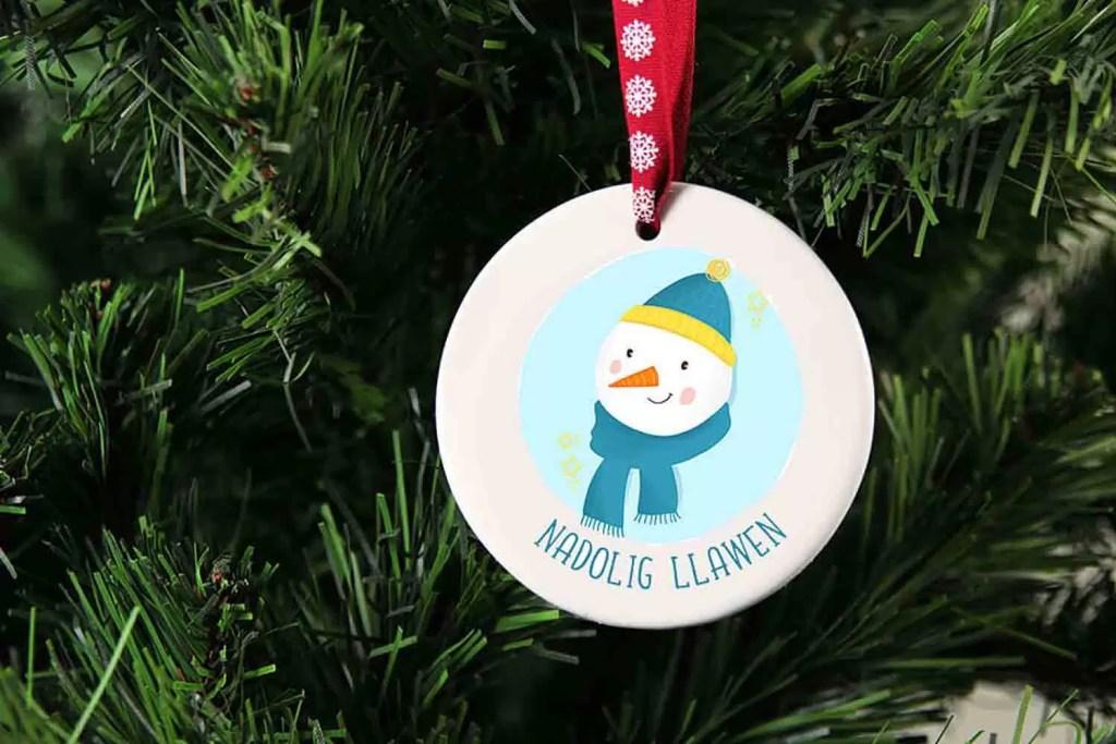 Snowman Nadolig Llawen Ceramic Christmas Tree Decoration
