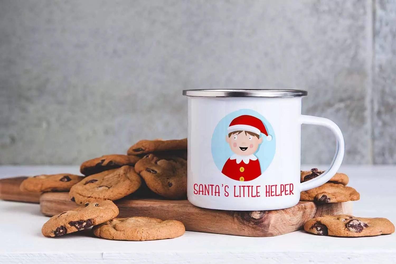 Boy Santa's Little Helper Christmas Enamel Mug For Children
