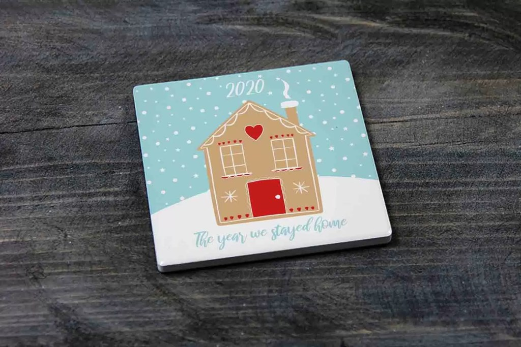 2020 The Year We Stayed Home Christmas Ceramic Coaster Gift