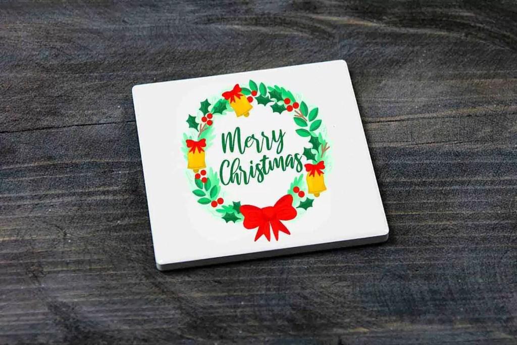 Merry Christmas Wreath Christmas Ceramic Coaster