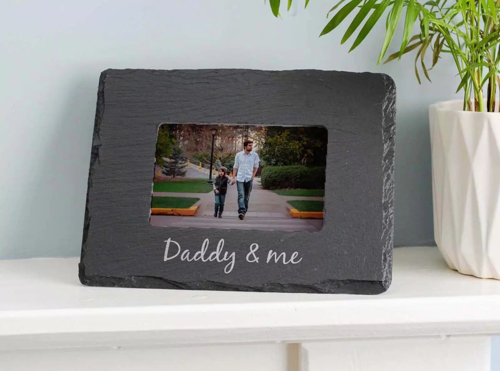 Daddy and me photo frame. Welsh slate and handcrafted in Wales