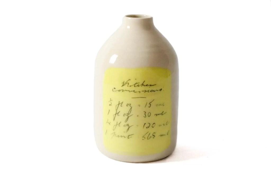 handmade ceramic yellow milk bottle vase flower holder