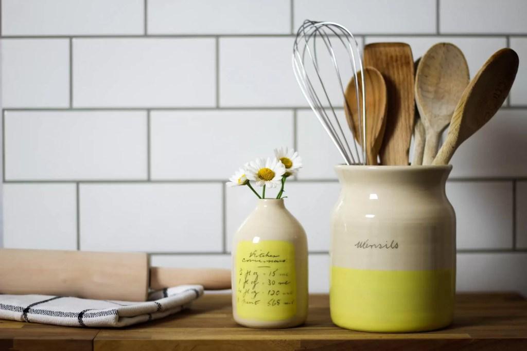 yellow ceramic milk bottle handmade vase wheel-thrown flower