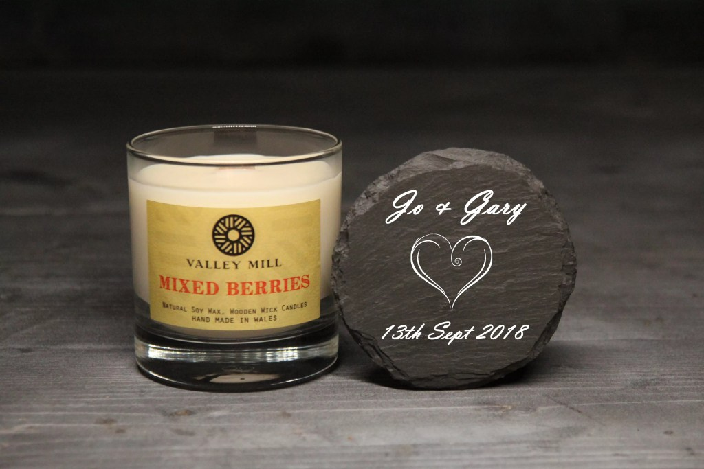 Valley Mill Mixed Berries handmade soy wax candle with a personalised engraved coaster.